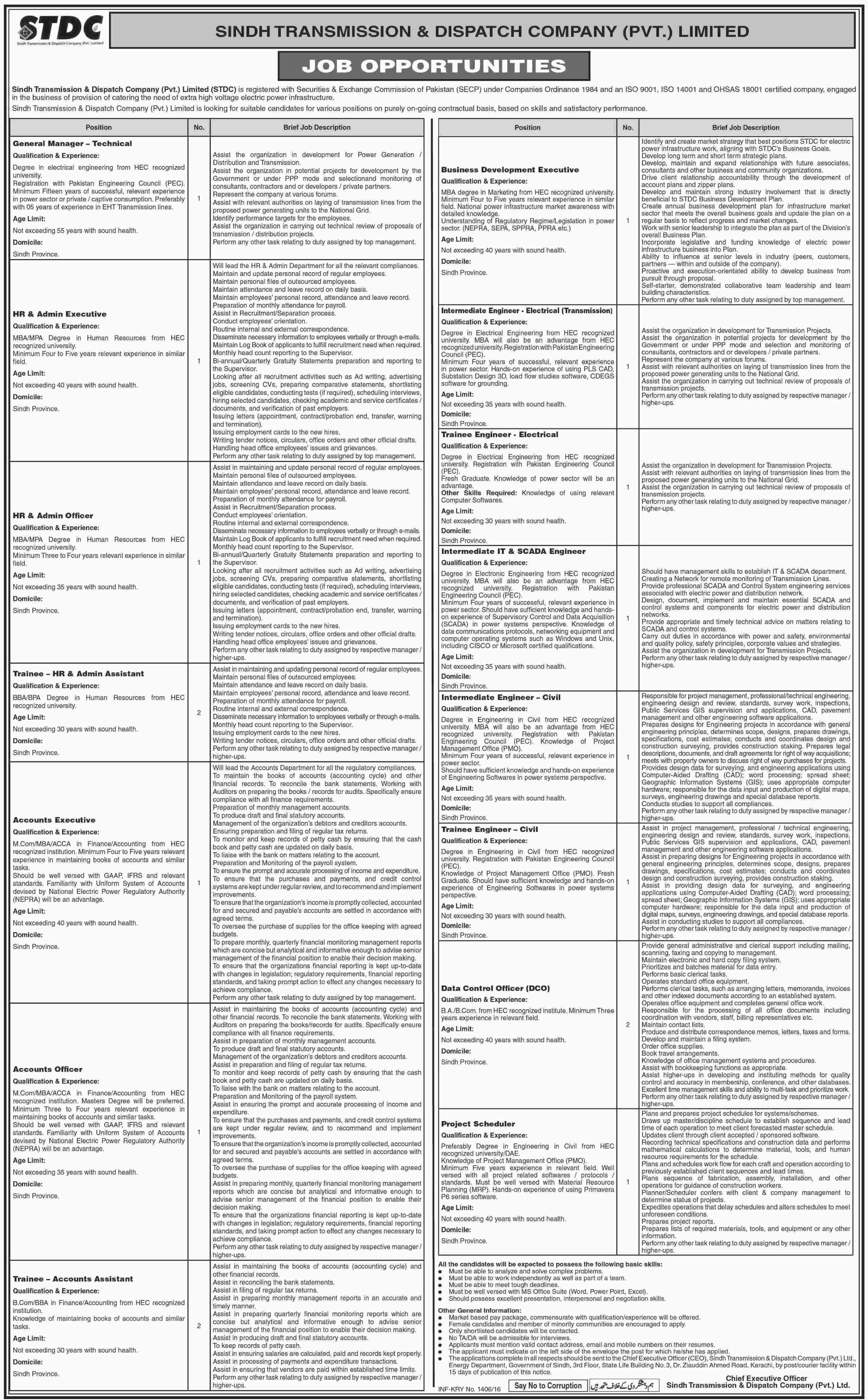 STDC Job Vacancies Daily Dawn April 11, 2016 Monday